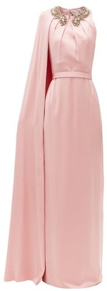 Alexander McQueen Crystal-neckline Cape-shoulder Silk-satin Gown - Pink