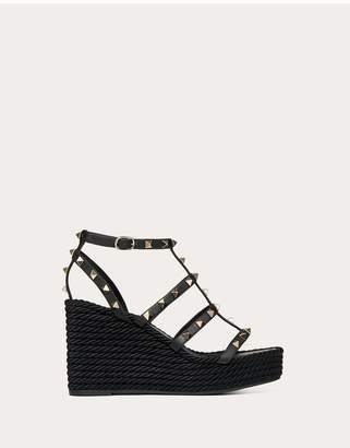 Valentino Garavani Rockstud Ankle Strap Wedge Sandal In Calfskin Leather 95 Mm