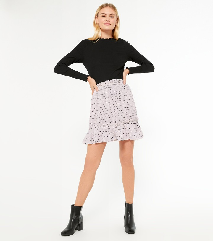 Thumbnail for your product : New Look Spot Shirred Frill Hem Mini Skirt