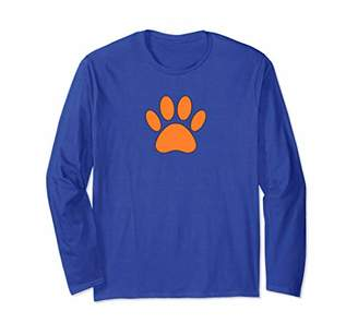 Orange Dog Paw Print Long Sleeve T-Shirt