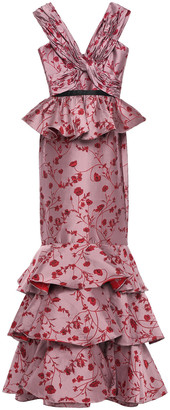Johanna Ortiz Ruffled Tiered Jacquard Peplum Gown