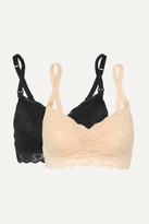 Cosabella Never Say Never Mommie Set Of Two Stretch-lace Nursing Bras - Sand
