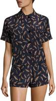 Araks Women's Shelby Printed Silk Charmeuse Pajama Top