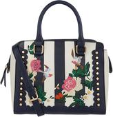 Accessorize Floral Embroidered Stripe Handheld Bag