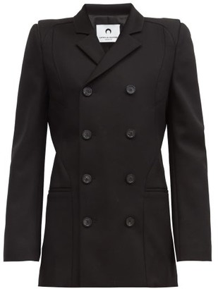 Marine Serre Exaggerated-shoulder Double-breasted Wool Blazer - Black