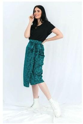 Haus Of Deck Green Leopard Print Satin Wrap Skirt