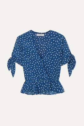 Faithfull The Brand Lucy Ruffled Floral-print Crepe Wrap Top - Royal blue