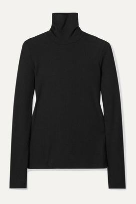 Madewell Garbanzo Ribbed Stretch-knit Turtleneck Top - Black