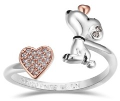 Peanuts Snoopy and Pave Crystal Heart Bypass Ring
