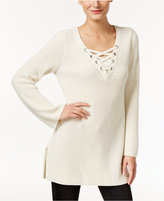 Style&Co. Style & Co. Lace-Up Tunic Sweater, Only at Macy's