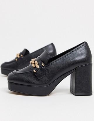 ASOS DESIGN Selina platform mid-heeled loafers in black