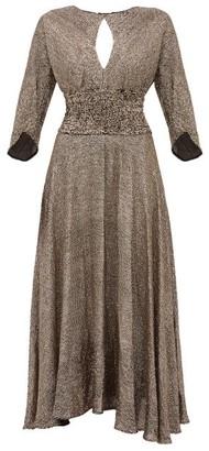 Maria Lucia Hohan Kalea Sequinned Chiffon Midi Dress - Womens - Bronze