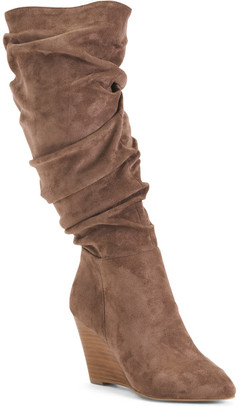 Slouchy High Shaft Wedge Boots