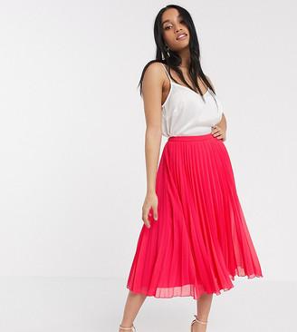ASOS DESIGN Petite pleated midi skirt in pink