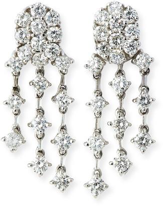 Andreoli Three-Strand Diamond Chandelier Earrings in 18K White Gold