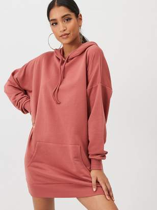 boohoo The Perfect Oversized Hooded Sweat Dress - Taupe