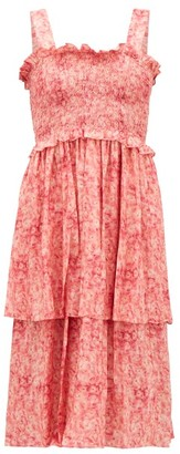 Adriana Degreas Hydrangea-print Tiered Dress - Pink Print