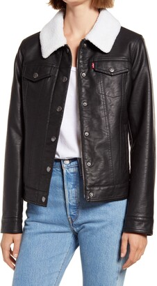 Levi's Faux Leather Trucker Jacket with Faux Shearling Collar