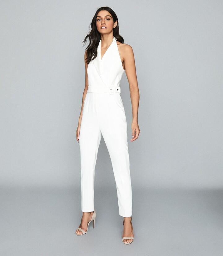 Thumbnail for your product : Reiss Belinda - Tux Detail Halterneck Jumpsuit in White