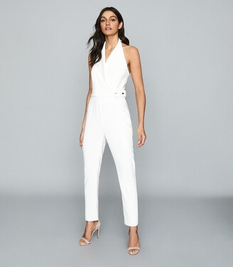 Reiss Belinda - Tux Detail Halterneck Jumpsuit in White