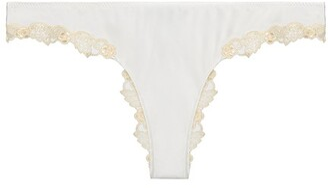 La Perla Silk Brazilian Briefs With Ivory Frastaglio