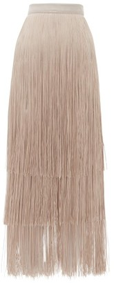 Raey Long-fringe Midi Pencil Skirt - Womens - Grey