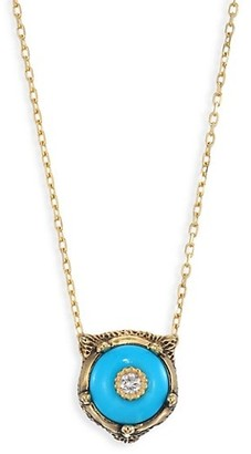 Gucci Le Marche Des Merveilles 18K Yellow Gold Feline Head Turquoise & Diamond Pendant Necklace