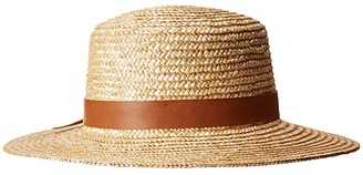 San Diego Hat Company WSH1203 - Wheat Straw Boater with Faux Leather Band (Natural) Caps