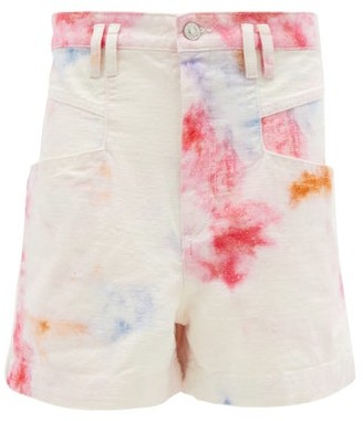 Isabel Marant Esquia High-rise Tie-dye Cotton Shorts - Ivory Multi