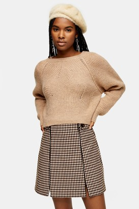Topshop Womens Camel Swirl Cropped Jumper - Camel
