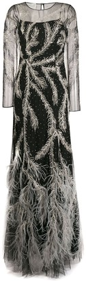 Alberta Ferretti feathered embellished gown