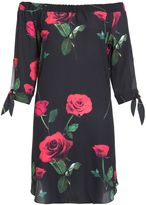 Quiz Black and Red Rose Tunic Dress