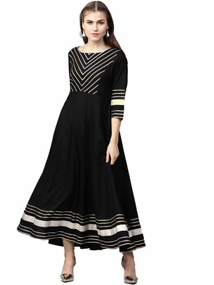 Hiral designer Indian Tunic Tops Women's Cotton Floral Print Anarkali Kurtas Long Dress (40