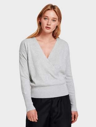 White + Warren Cotton Silk Faux Wrap Pullover