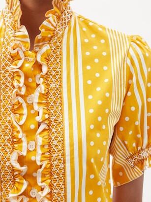Loretta Caponi Donatella Polka-dot And Striped-cotton Blouse - Yellow