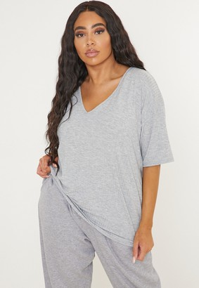 Missguided Plus Size Grey Rib V Drop Shoulder T Shirt