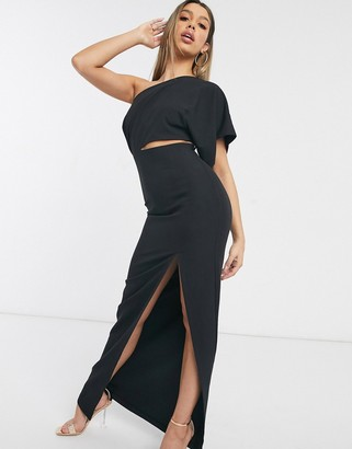 Vesper maxi dress with thigh split in black