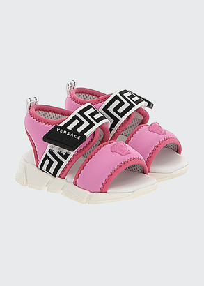 Versace Girl's Medusa-Greek Key Scuba Sport Sandals, Baby/Toddlers