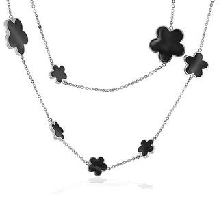 Bling Jewelry Flower Long Station Tin Cup Chain Layer Black Enamel Clover Necklace