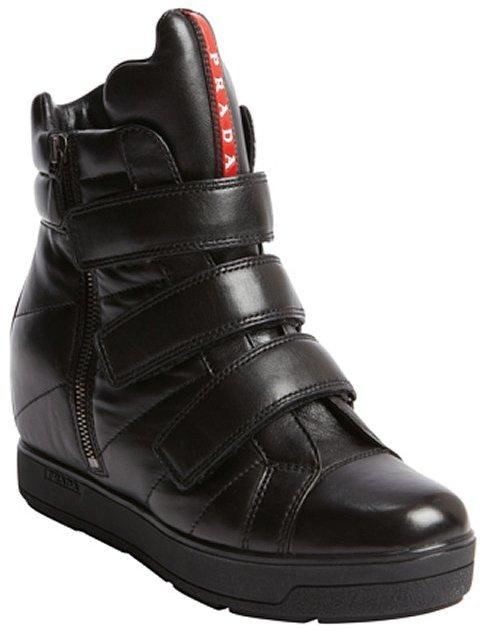 Prada black leather fastening tape side zip boots
