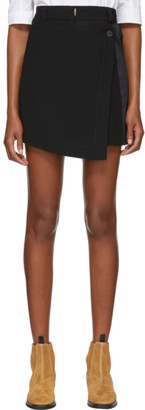 Carven Black Button Wrap Miniskirt