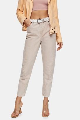 Topshop IDOL Peach Twist Seam Mom Tapered Jeans