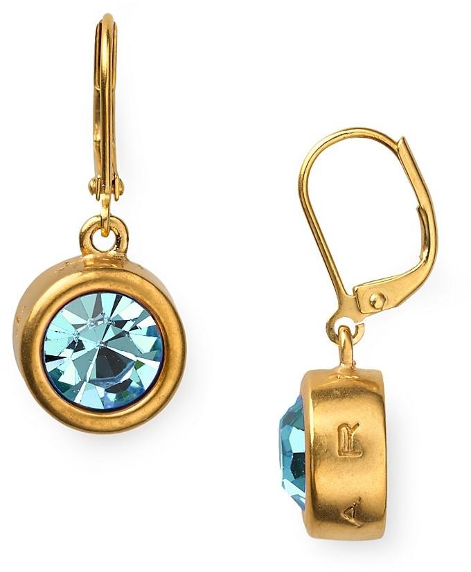 T Tahari Round Crystal Leverback Drop Earrings