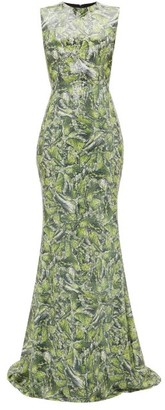 Halpern Sequinned Wave-print Dress - Green