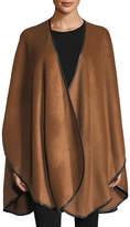 Sofia Cashmere Baby Alpaca Cape w/ Leather Trim