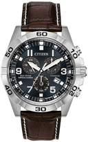 Citizen Citizen Eco-Drive Perpetual Calendar Deep Blue Dial Chronograph Titanium Case Brown Leather Strap Mens Watch