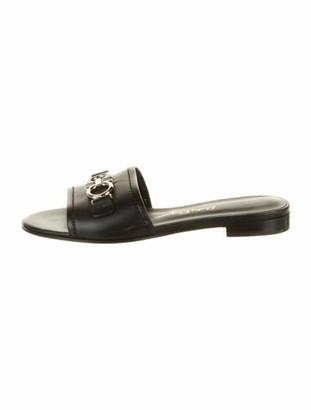 Salvatore Ferragamo Leather Slides Black