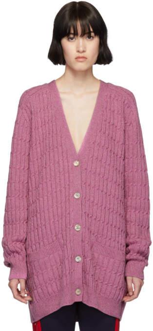 Gucci Pink Lurex Oversized Cardigan