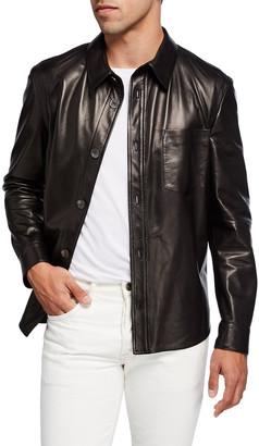 Salvatore Ferragamo Men's Lamb Leather Button-Down Shirt
