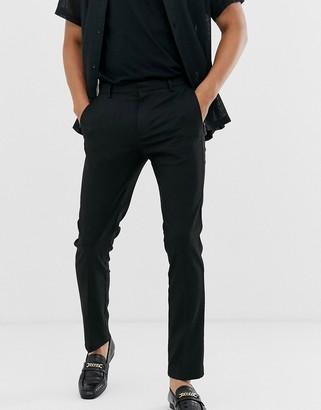 Topman skinny smart pants in black